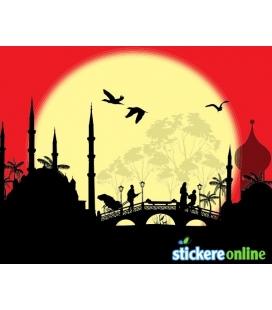 Apus de soare asiatic - sticker decorativ perete
