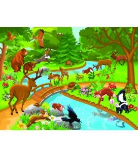 Tablou canvas Animalute salbatice la raul cu podet